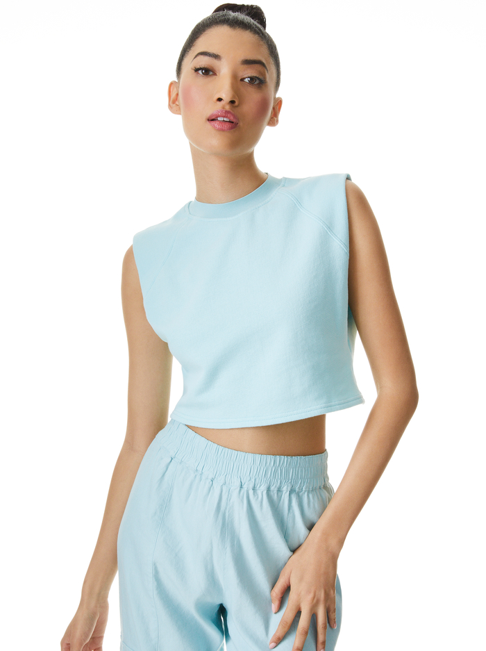 BRAXTON CROPPED SLEEVLESS  TEE - POWDER BLUE - Alice And Olivia