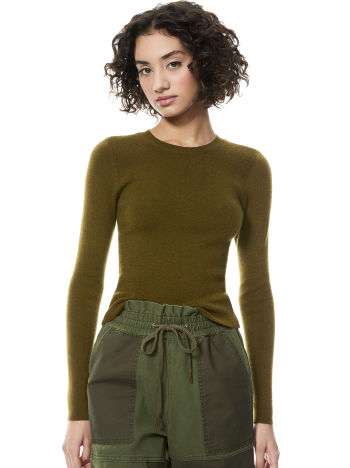 CIARA CROPPED PULLOVER - OLIVE - Alice And Olivia