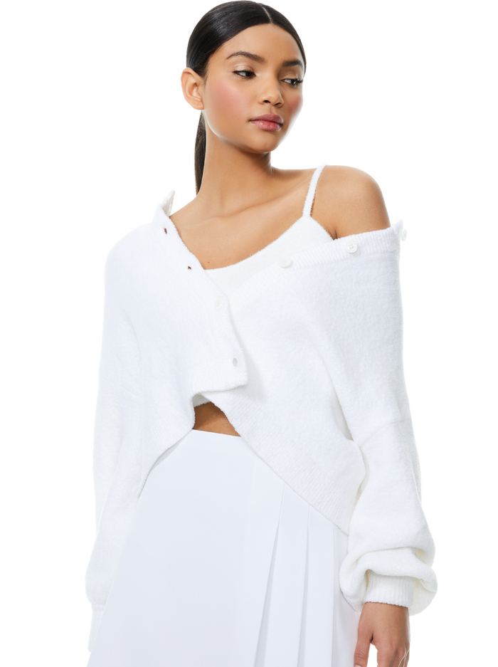 SYLVIE FUZZY CROPPED CARDIGAN - WHITE - Alice And Olivia