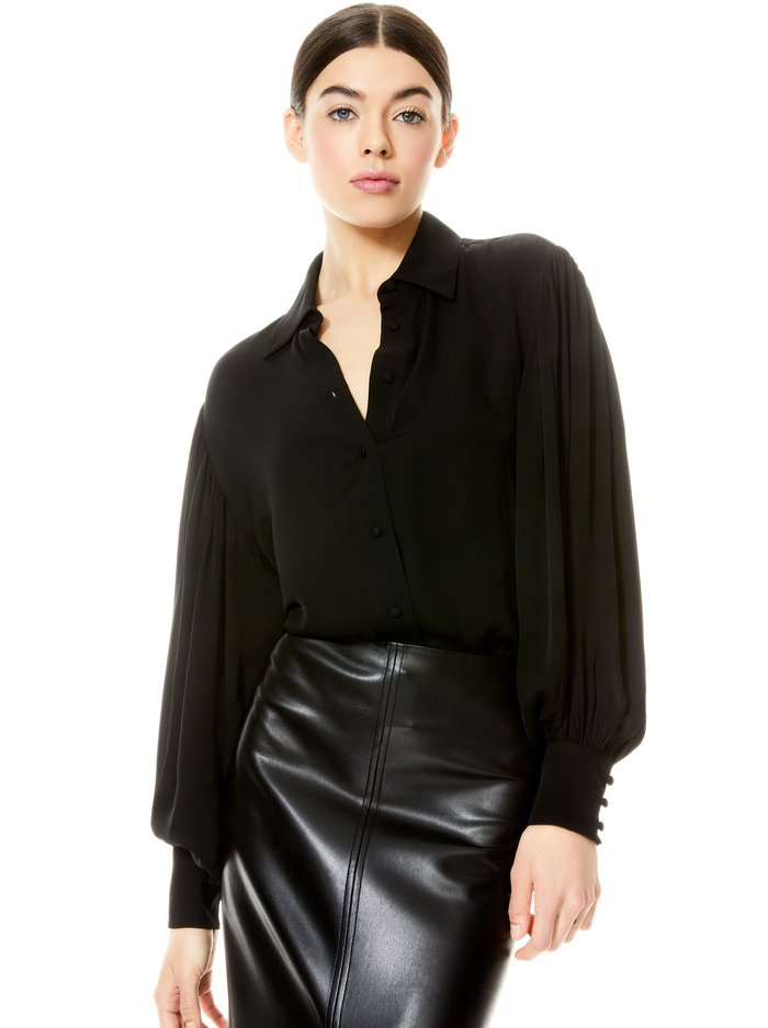 MITCHELL OPEN BACK BLOUSE - BLACK - Alice And Olivia