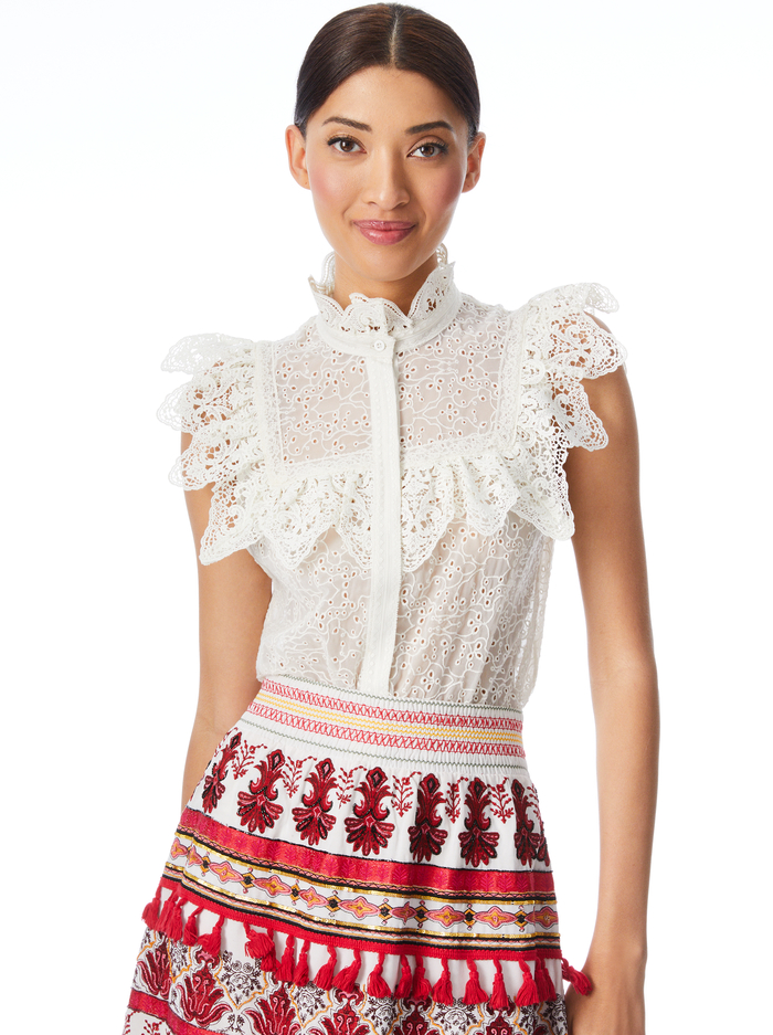 MARIAN RUFFLE COLLAR BLOUSE - OFF WHITE - Alice And Olivia