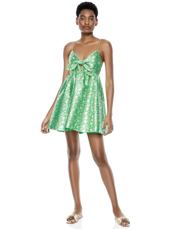 MELVINA GATHERED BABY DOLL DRESS - JADE MULTI - Alice And Olivia
