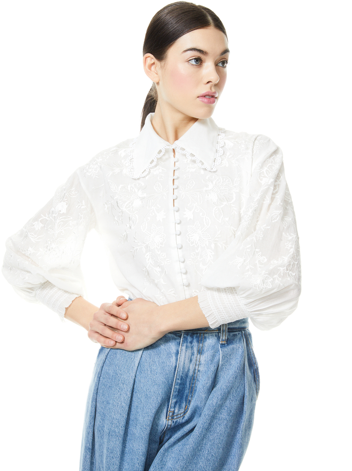 ONELLA EMBROIDERED BUTTON FRONT BLOUSE - OFF WHITE - Alice And Olivia