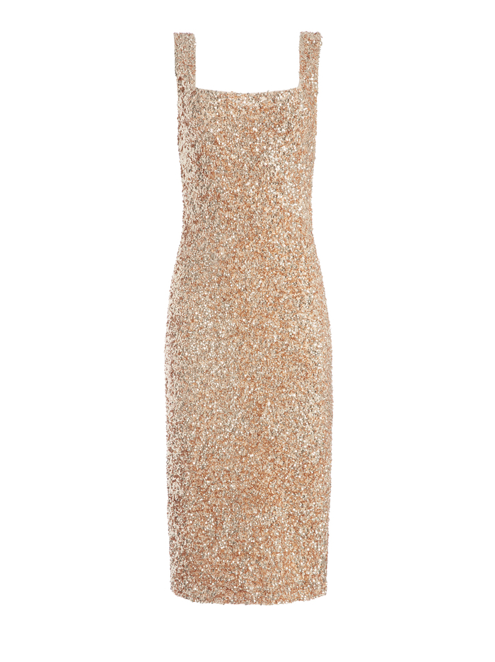 HELEN SEQUIN FITTED MIDI DRESS - PALE GOLD - Alice And Olivia