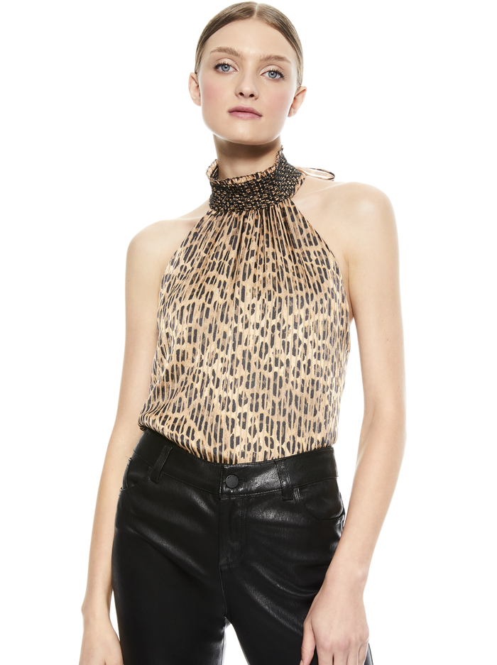 ALMIRA LEOPARD HALTER TOP - SPOTTED LEOPARD SM - Alice And Olivia