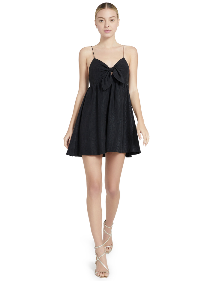 MELVINA TIE FRONT MINI DRESS - BLACK - Alice And Olivia