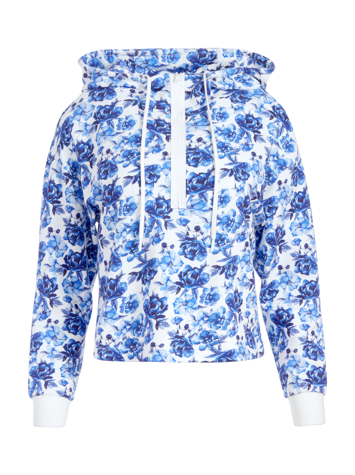 QUINLAN FLORAL CROPPED HOODIE - FORGET ME NOT LG ANTIQUE WHITE - Alice And Olivia
