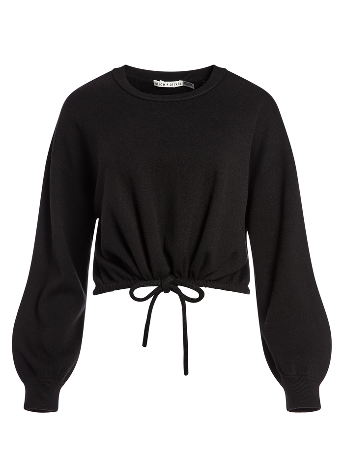 BERNETTA PULLOVER WITH DRAWSTRING - BLACK - Alice And Olivia