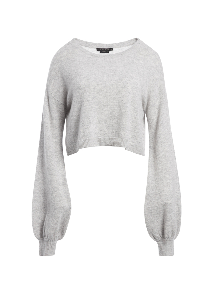 ANSLEY WIDE SLEEVE CROPPED SWEATER - HEATHER GREY - Alice And Olivia