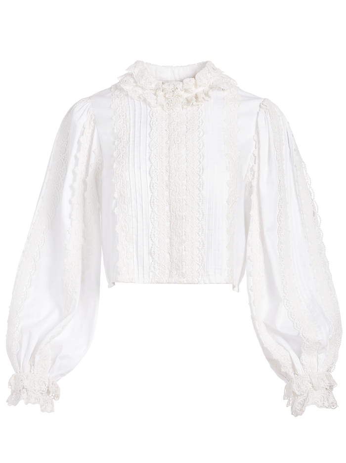 YVETTE MOCK NECK BUTTON FRONT BLOUSE - OFF WHITE - Alice And Olivia