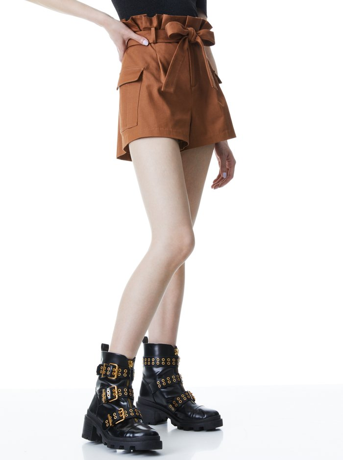 LAURINE PAPER BAG SHORT - CAMEL - Alice And Olivia