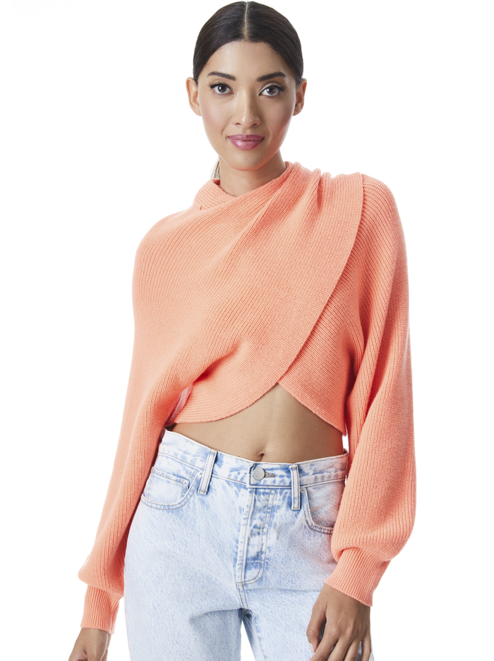 MORA REVERSIBLE PULLOVER - DEEP CORAL - Alice And Olivia