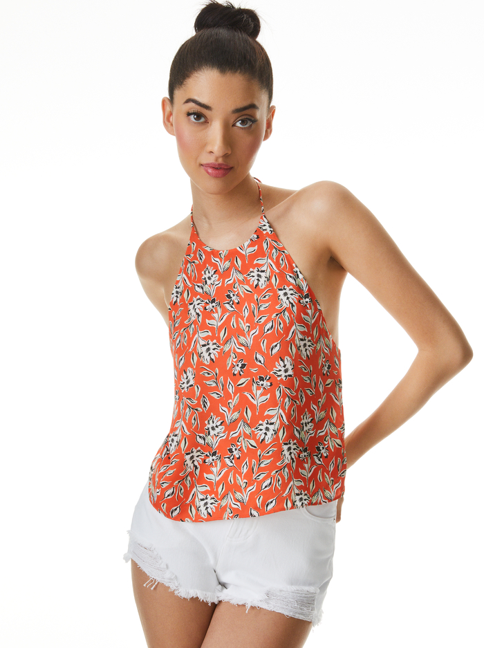 FRENCHIE PRINTED HALTER TOP - FREE SWINGING SIENNA - Alice And Olivia