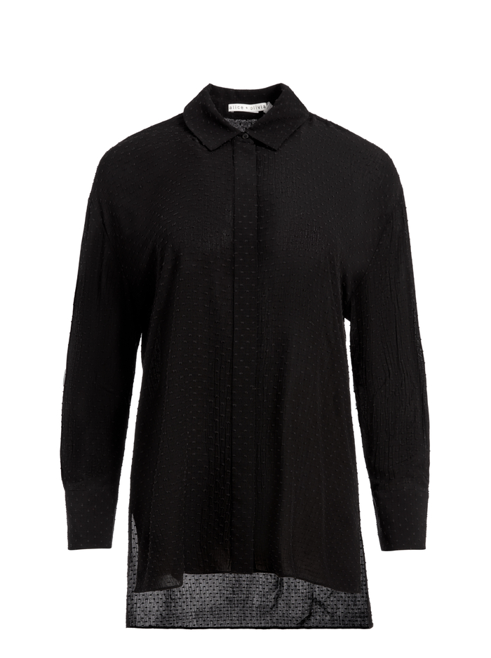 DIMITRA HIGH LOW BUTTON DOWN - BLACK - Alice And Olivia