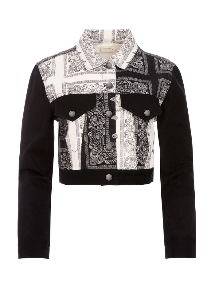 BANDANA PATCHWORK CROPPED JACKET - GET DOWN/MULTI - Alice And Olivia