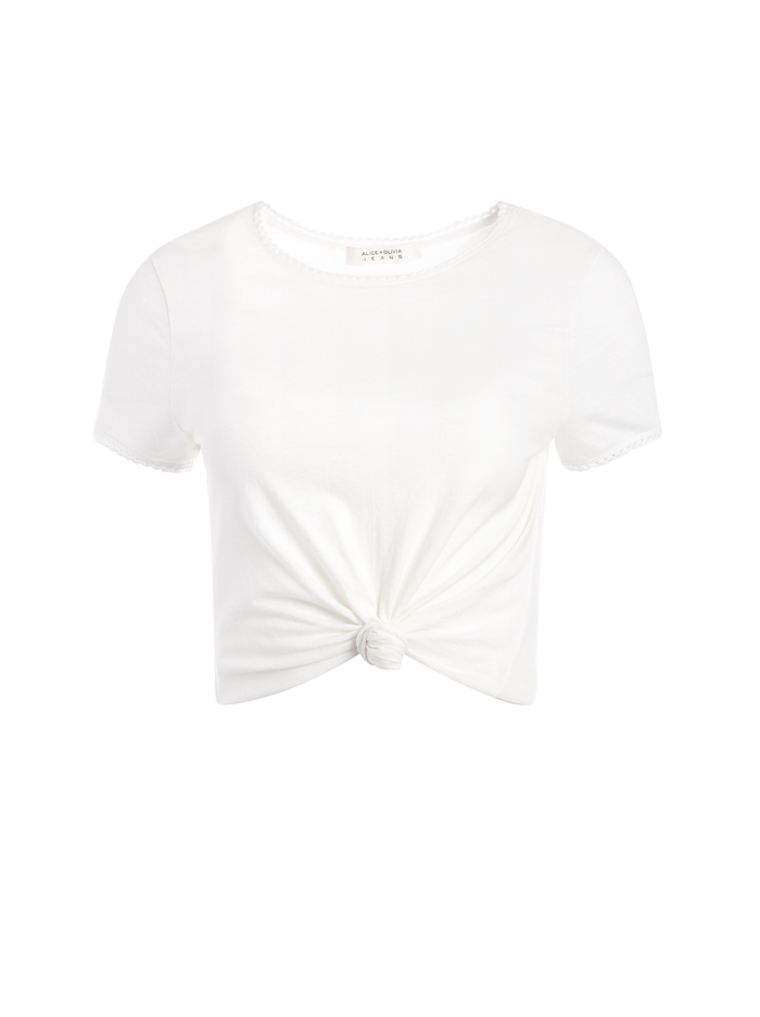 KANE TIE FRONT CROPPED TEE - WHITE - Alice And Olivia