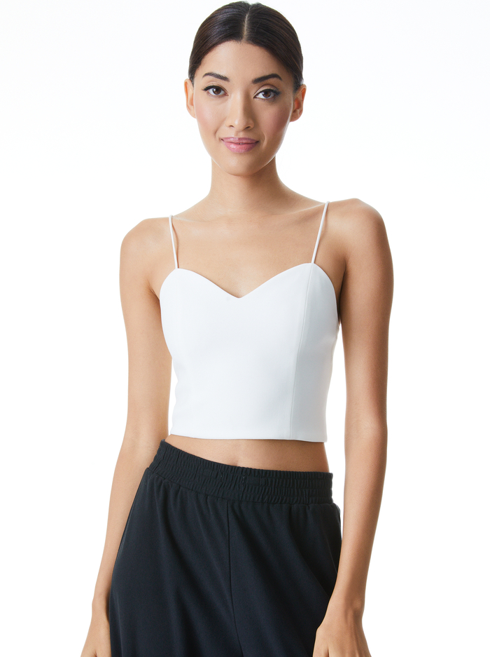 GINA SWEETHEART CROP TOP - OFF WHITE - Alice And Olivia