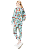 QUINLAN FLORAL CROPPED HOODIE - FLORAL EXPRESS SM WATERFALL