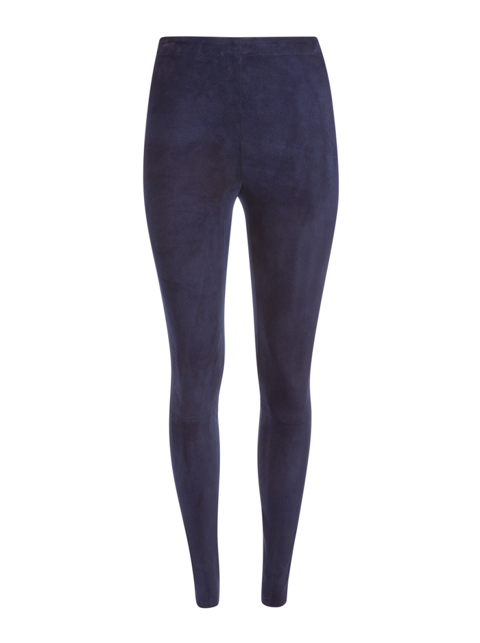 MADDOX SIDE ZIP SUEDE LEGGING - NAVY - Alice And Olivia