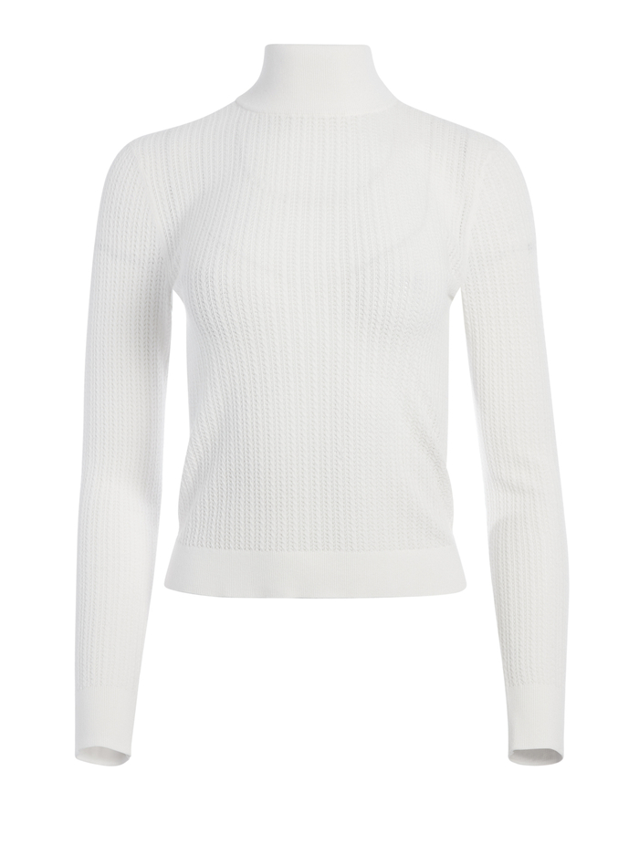 LANIE HIGH NECK PULLOVER - WHITE - Alice And Olivia