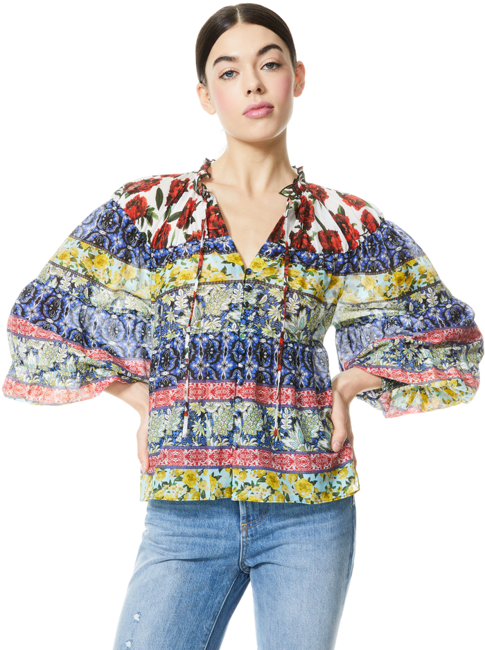 MARLYN TIE NECK BLOUSE - FRENCH QUARTERS MULTI - Alice And Olivia