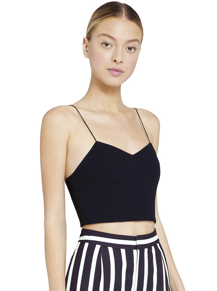 ARCHER CROPPED TANK - BLACK - Alice And Olivia