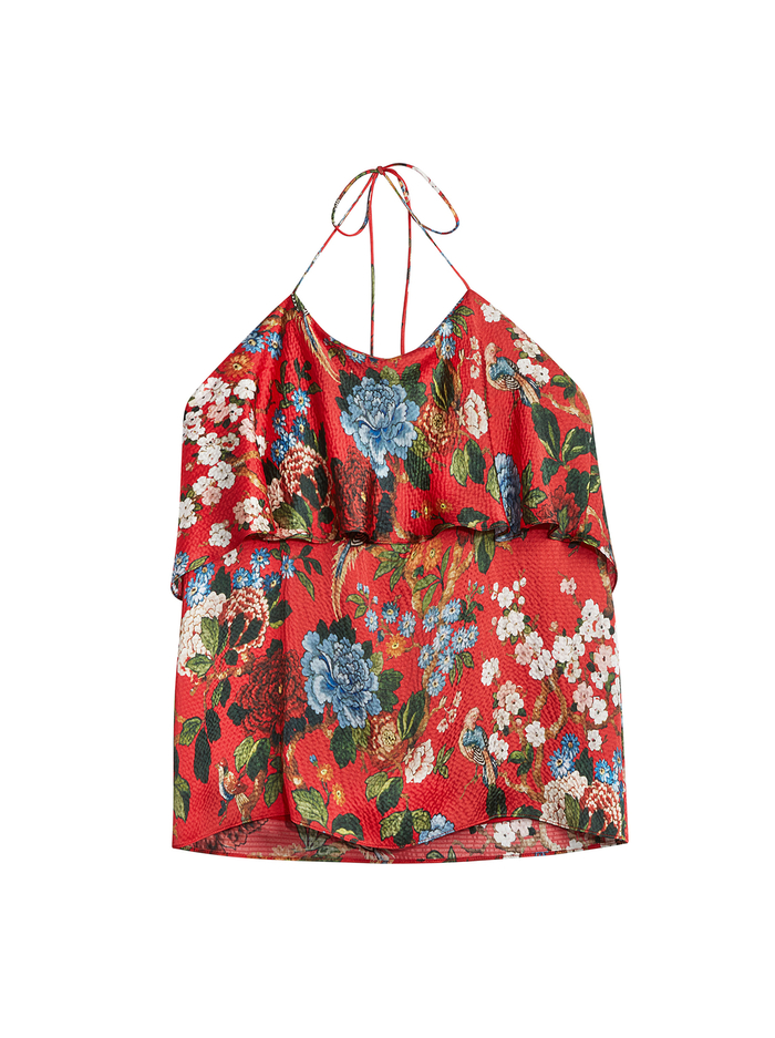 MARYBETH FLORAL HALTER TOP - CHINOISERIE GARDEN- RUBY - Alice And Olivia