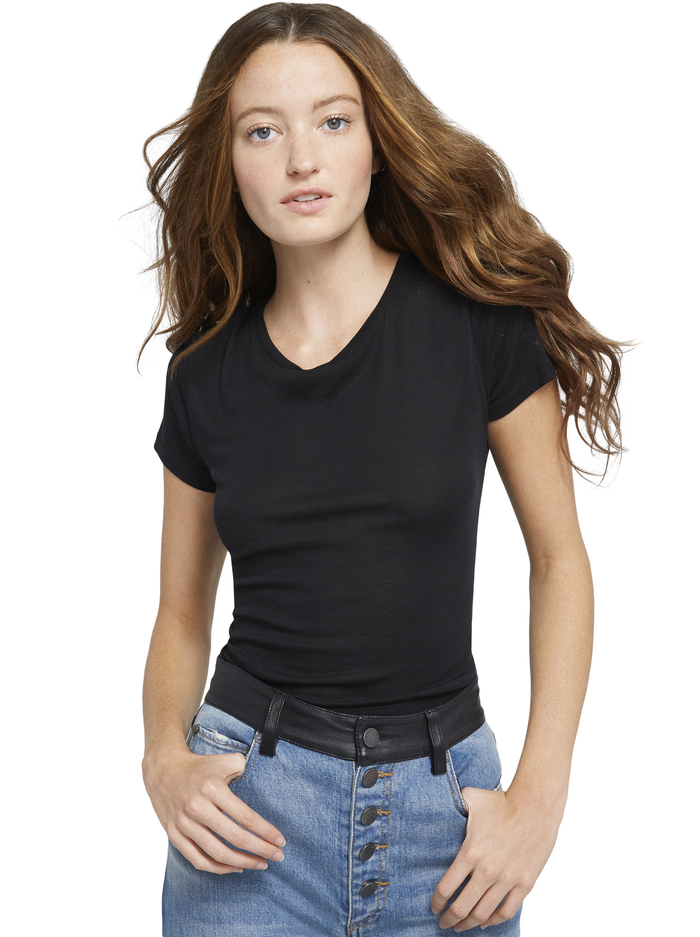 CINDY CLASSIC CROPPED TEE - BLACK - Alice And Olivia
