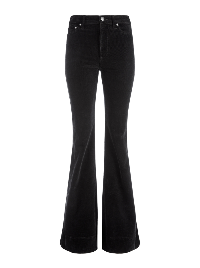 BEAUTIFUL HIGH RISE CORDUROY BELL - BLACK - Alice And Olivia