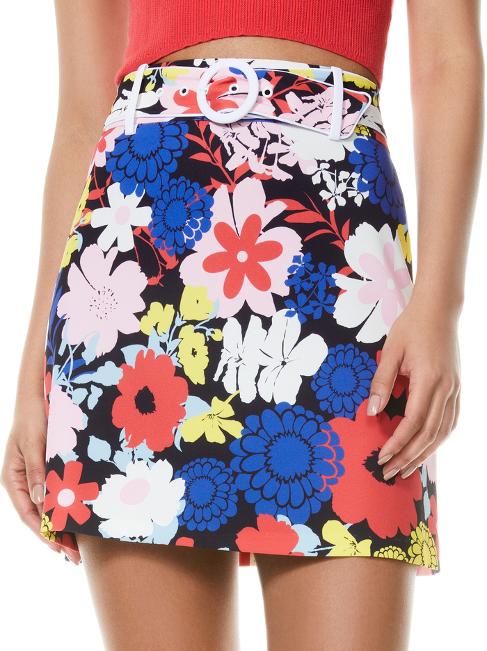 FREYA FLORAL MINI SKIRT - ONE LOVE FLORAL/OFF WHT - Alice And Olivia