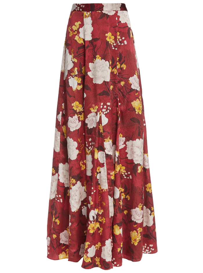 ATHENA MAXI SKIRT WITH SLITS - WATER LOTUS BORDEAUX - Alice And Olivia