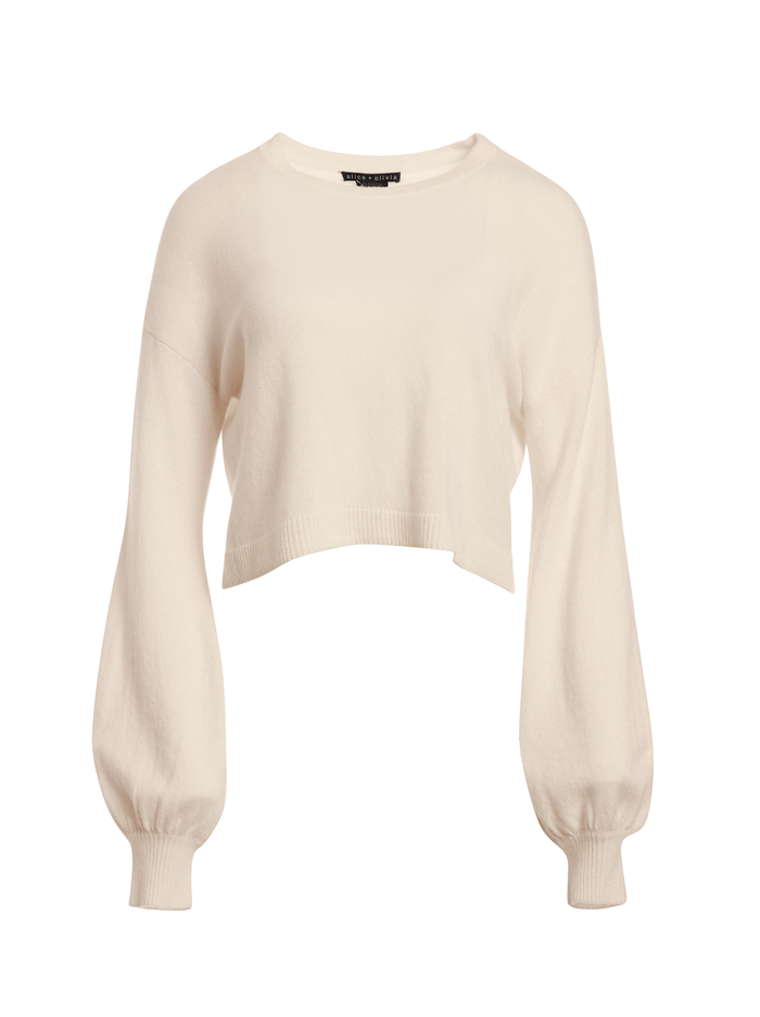 ANSLEY WIDE SLEEVE CROPPED SWEATER - OATMEAL - Alice And Olivia