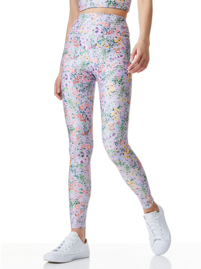 AARON HIGH WAISTED LEGGING - COASTAL GARDENS LAVENDER - Alice And Olivia