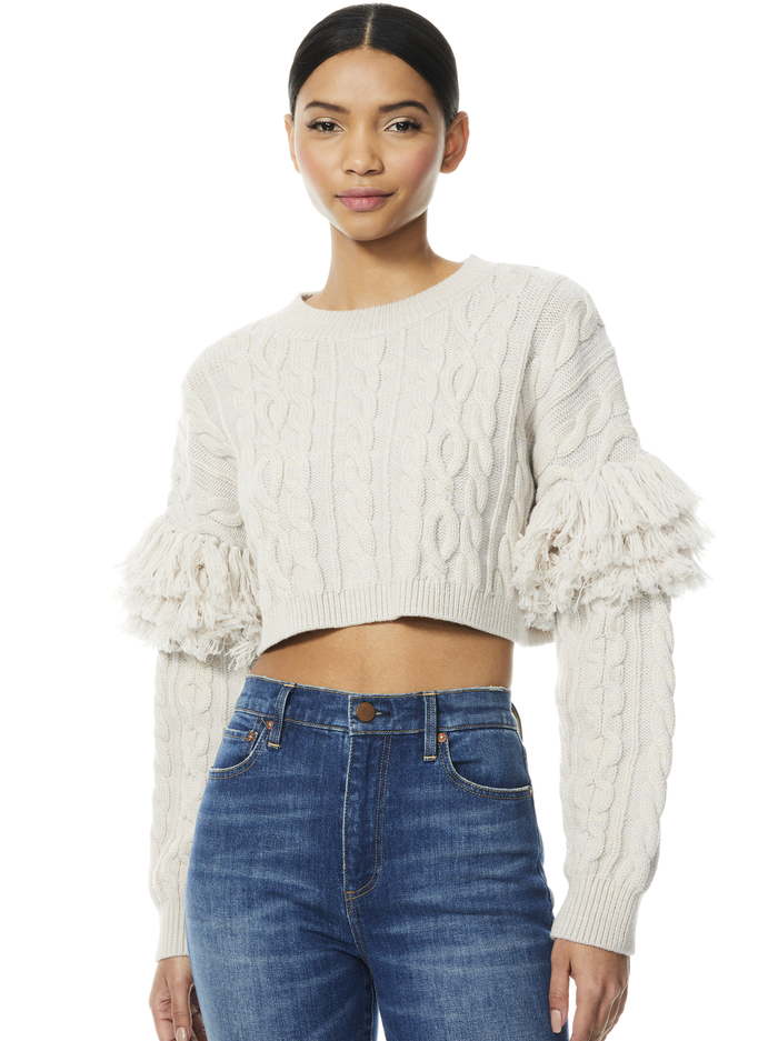 KALA CROPPED CABLEKNIT PULLOVER - LIGHT ALMOND - Alice And Olivia