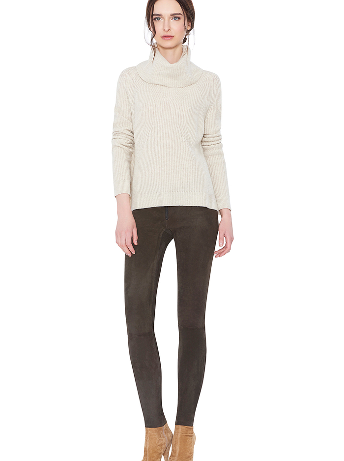 FRONT ZIP SUEDE LEGGING - CHOCOLATE - Alice And Olivia