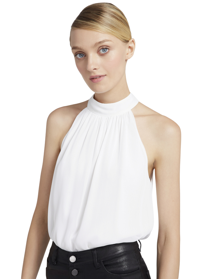 MARIS HALTER NECK GATHERED TOP - WHITE - Alice And Olivia