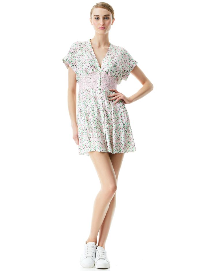 KEELA SMOCKED WAIST MINI DRESS - MONTEREY DITSY SOFT WHITE - Alice And Olivia