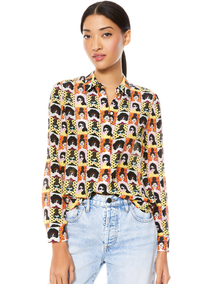 WILLA PLACKET TOP - STACE TRIBE - Alice And Olivia