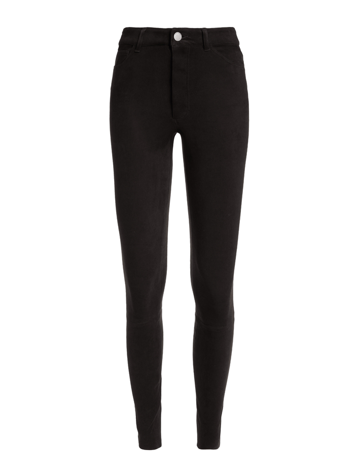 MIKAH SINGLE BUTTON SUEDE PANT - BLACK - Alice And Olivia
