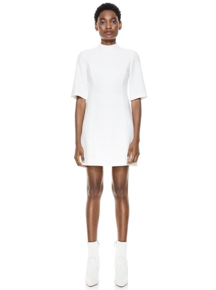 COLEY MOCK NECK MINI DRESS - OFF WHITE - Alice And Olivia