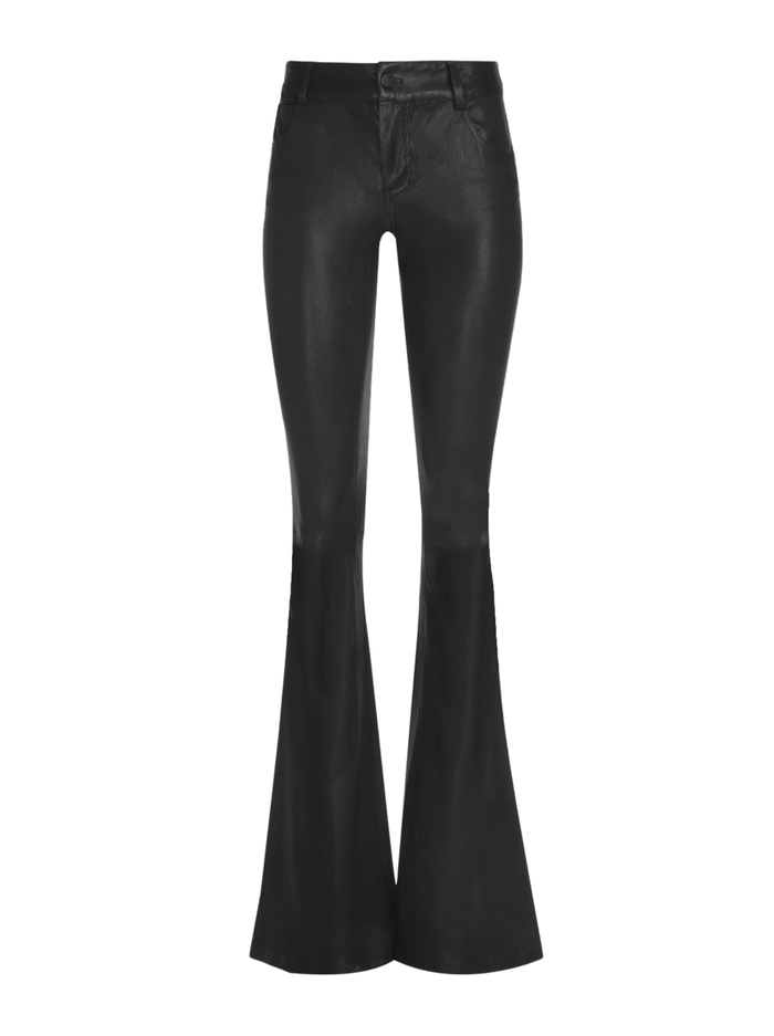 LEATHER BELL PANT - BLACK - Alice And Olivia
