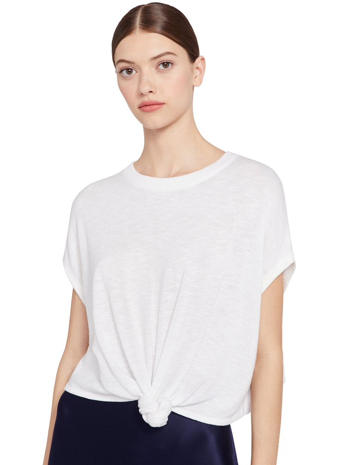 CAMMY TIE FRONT PULLOVER - SOFT WHITE - Alice And Olivia