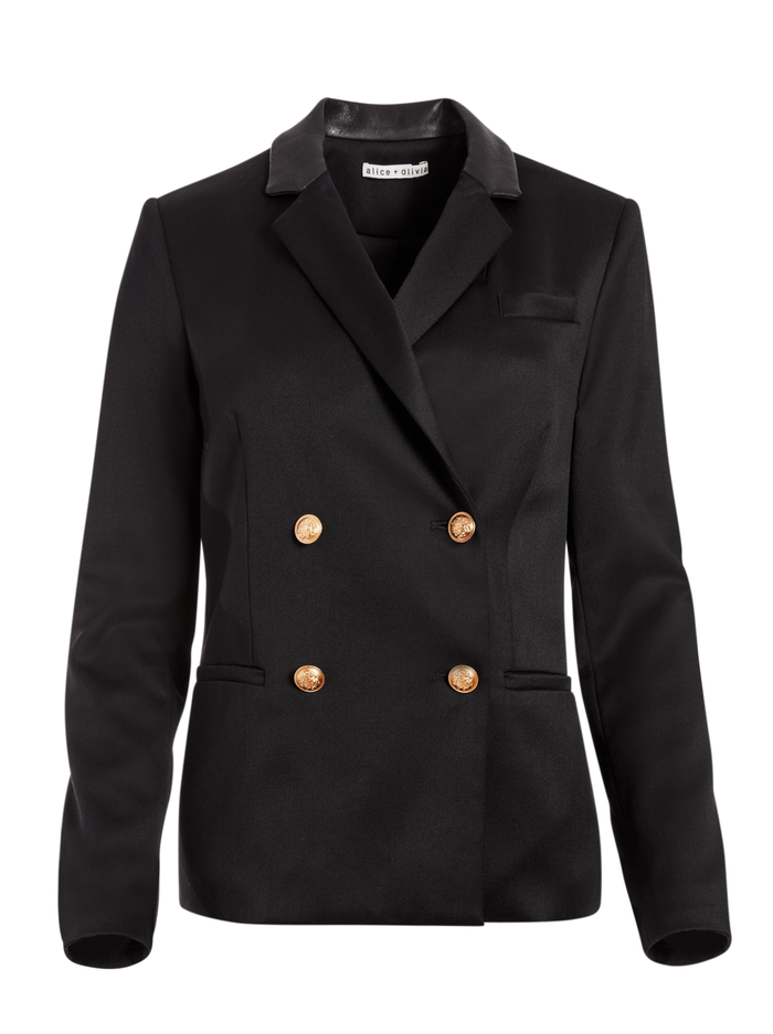BERGEN DOUBLE BREASTED BLAZER - BLACK - Alice And Olivia