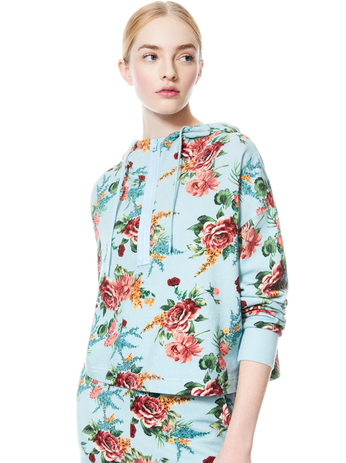 QUINLAN FLORAL CROPPED HOODIE - FLORAL EXPRESS SM WATERFALL - Alice And Olivia