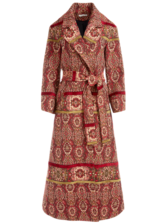 STEFAN BELTED NOTCH COLLAR COAT - RUBY/MULTI - Alice And Olivia
