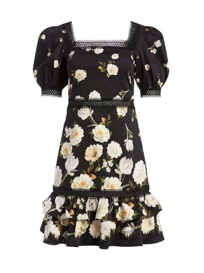 WYLIE FLORAL MINI DRESS - SPRING SHOWER BLACK - Alice And Olivia
