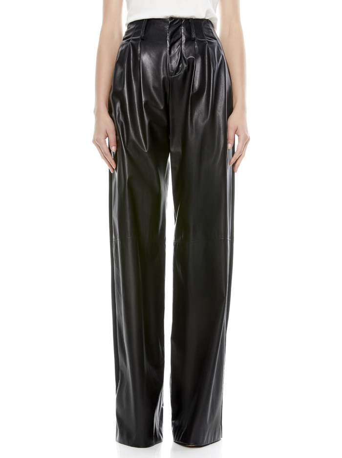 ELOISE COMBO LEATHER PANT - BLACK - Alice And Olivia