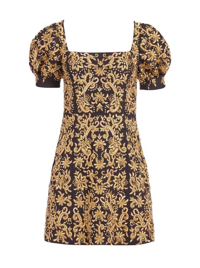 KRISTIAN EMBROIDERED MINI DRESS - BLACK/GOLD - Alice And Olivia