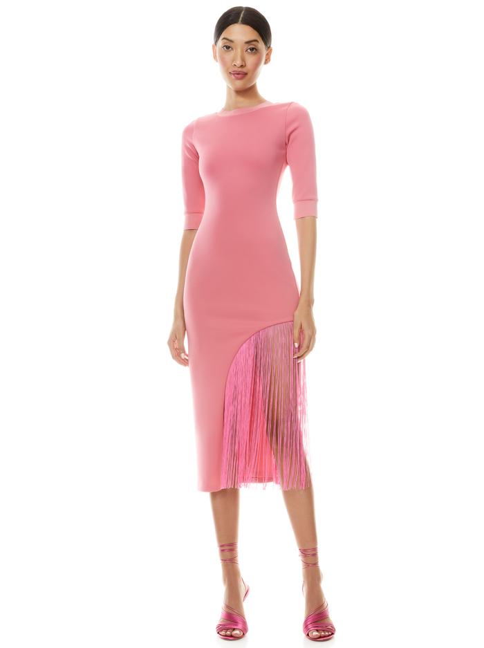 KEANNA ASYMMETRICAL FRINGE DRESS - CALYPSO PINK - Alice And Olivia