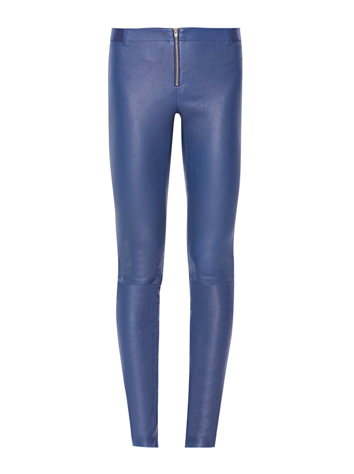 FRONT ZIP LEATHER LEGGING - NAVY - Alice And Olivia